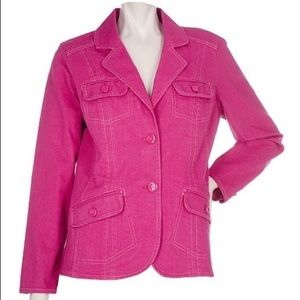 Denim & Co. 2 Button Denim Jacket EUC